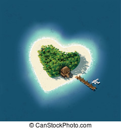 Heart Shaped Tropical Island for Romantic Vacation -...