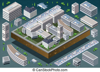 Isometric European Building - Detailed illustration of a...