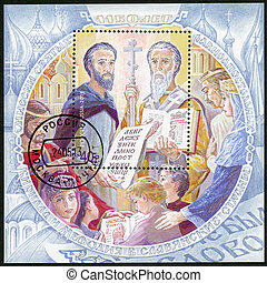 RUSSIA - CIRCA 2013: A stamp printed in Russia shows The 1150th anniversary of the mission Saints equal to the Apostles Cyril and Methodius to the Slavic countries, circa 2013