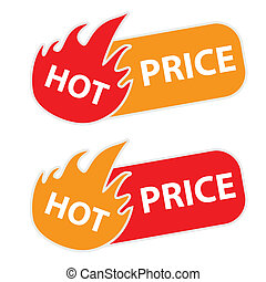 Hot Price tags on a white bckground Vector illustration