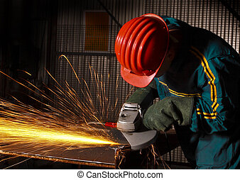 heavy industry manual worker with grinder 02