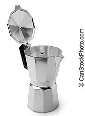 Metal coffeepot on a white background
