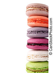 Colorful french macaroons isolated on white background