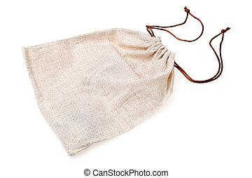 Empty burlap pouch