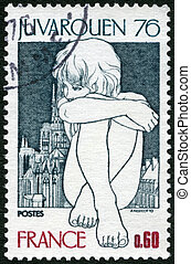 FRANCE - CIRCA 1976: A stamp printed in France shows Young...