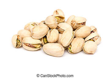 Pistachio Nuts Pile On White Background