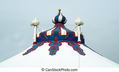 Circus tent on a blue sky