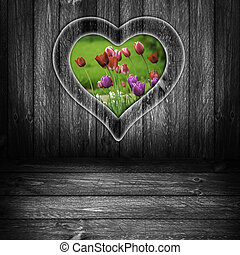 Background heart window wooden panel flower tulips grey -...