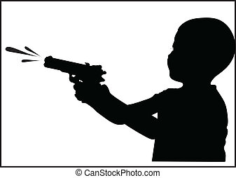 Boy with water gun silhouette vector illustration