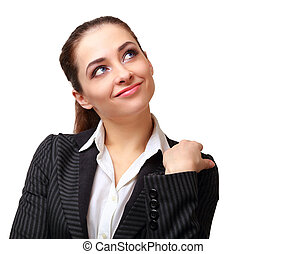 Beautiful business thinking woman looking up isolated