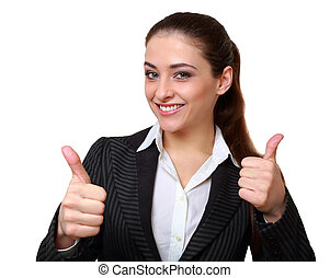 Happy business woman showing hands thumb up sign isolated on white