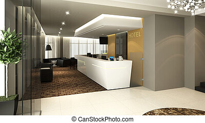 hotel lobby reception - Rendering of a modern hotel...