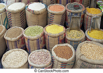 Food Display - Sacks of pulses, rice and grain outside a...