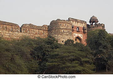 Derelict Mughal Fort - Detail of fortified entrance to the...