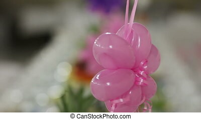 Decorating with balloons - Decorating a banquet hall for the...