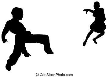 deux, enfants, Tango, Danseurs, passion