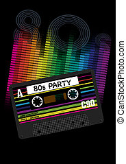 Vector 80s Party Background- Eighites Party - EPS10 Vector...
