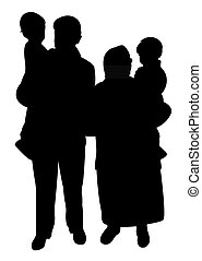 happy family silhouette vector - grand parents and grand...