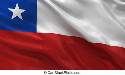 Flag of Chile seamless loop - Flag of Chile waving in the...