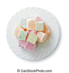 Turkish delight - Plate with turkish delight, view from...