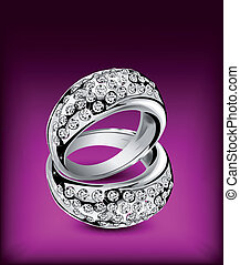Silver rings with some diamonds. Vector