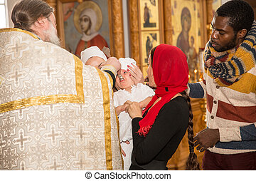 ALMATY, KAZAKHSTAN - DECEMBER 17: Christening ceremony on...