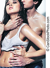 Passionate couple - Portrait of wet passionate couple