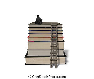 Businessman sitting on top of stack books with wooden ladder...
