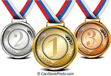 medal set - set of ribboned medals with laurel wreath and...
