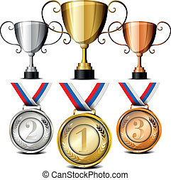 medals and trophies - set of trophies and medals with laurel...