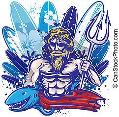 poseidon surfer with surfboard