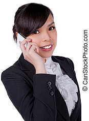 Portrait of smiling business woman phone talking, isolated...