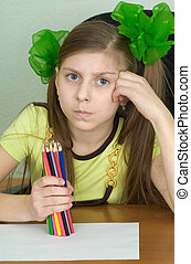 Girl with colour pencils in hands - Girl with color pencils...
