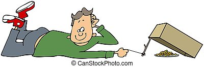 Boy with a box trap - This illustration depicts a boy laying...