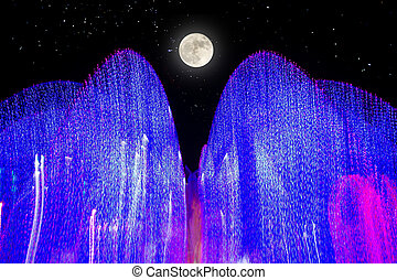 speed of neon light in new year with full moon