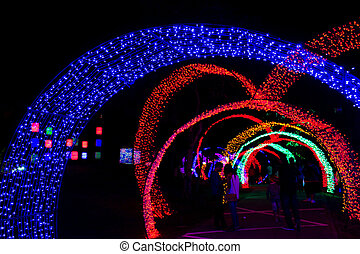 Tunnel of neon light in new year - colorful of neon light in...