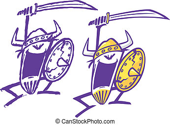 Crazy Vikings - Two abstract cartoon Vikings swinging a...