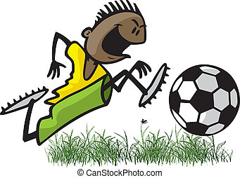 Youth Soccer Player - Cartoon of a young male soccer player...