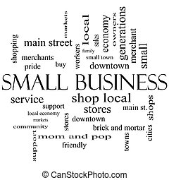 Small Business Word Cloud Concept in black and white with...
