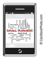 Small Business Word Cloud Concept on Touchscreen Phone -...