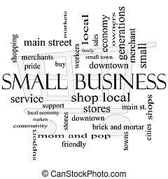 Small Business Word Cloud Concept with Shopping Cart - Small...