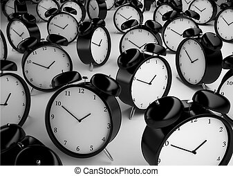 many alarm clock on a gray background