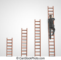 man climbing on ladder and concrete wall