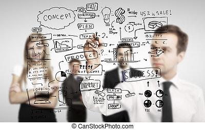 business concept - man drawing global business concept