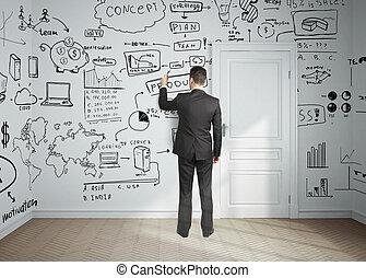 man drawing business plan - businessman drawing plan...