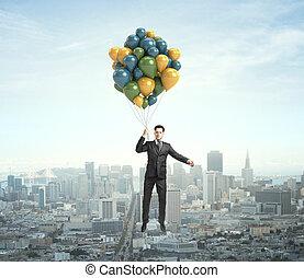 homem negócios, voando