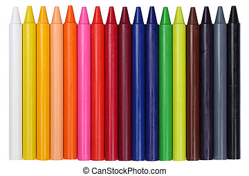 Crayons for children in a row, isolated on a white...