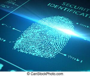 scanning fingerprint - scanning of a finger on a touch...