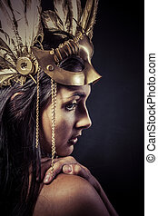 Valkyrie, Golden statue concept. Arty portrait of model with...