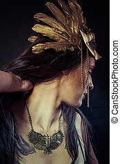 Viking, Warrior woman with gold mask, long hair brunette....
